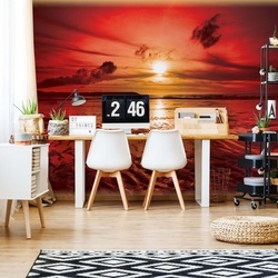 Beach Sunset Coastal Photo Wallpaper Wall Mural