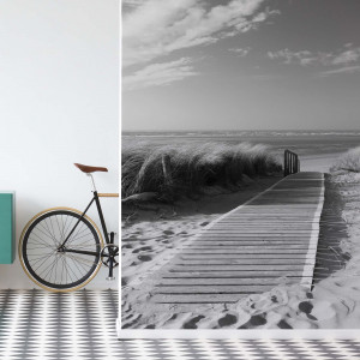 Beach Walkway Coastal Sand Dunes Black And White Photo Wallpaper Wall Mural