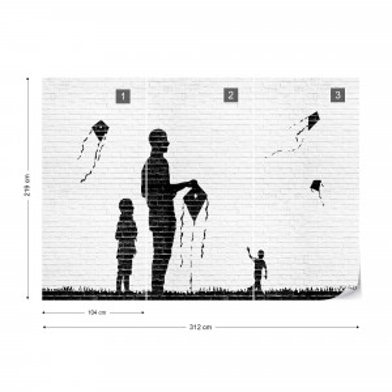 Black And White Brick Wall Graffiti Photo Wallpaper Wall Mural