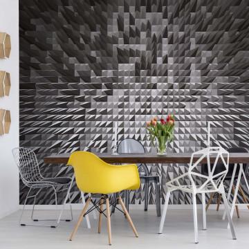 Black And White Modern 3D Pixel Design Photo Wallpaper Wall Mural