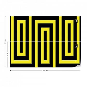 Black And Yellow Geometric Pattern Photo Wallpaper Wall Mural