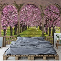 Blossoming Trees View Through Arches Photo Wallpaper Wall Mural