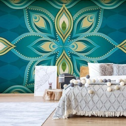 Blue, Green, And Gold Ethnic Design Photo Wallpaper Wall Mural