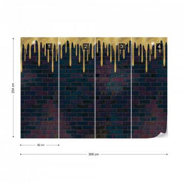 Brick Wall Texture Black And Gold Photo Wallpaper Wall Mural
