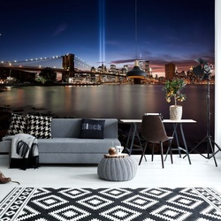 Brookly Bridge Nyc At Night Photo Wallpaper Mural
