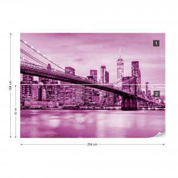 Brooklyn Bridge NYC in Pink