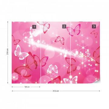 Butterflies Pink Sparkles Photo Wallpaper Wall Mural