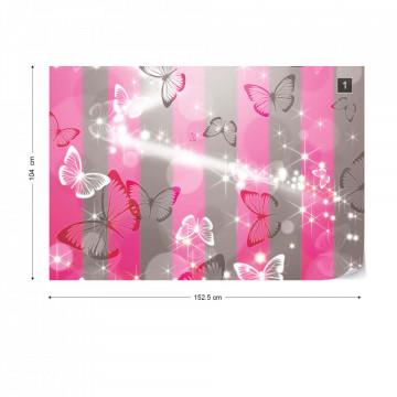Butterflies Pink Stripes Photo Wallpaper Wall Mural