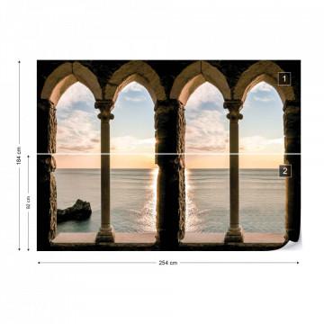 Calm Sea Ocean Stone Archway View Photo Wallpaper Wall Mural