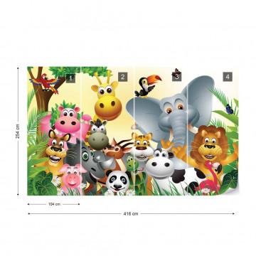 Cartoon Animals Elephant Tiger Cow Pig Photo Wallpaper Wall Mural