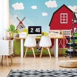 Cartoon Farm Farmyard Animals Photo Wallpaper Wall Mural
