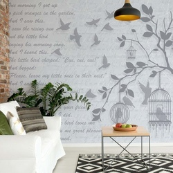 Cherry Blossom And Birds Vintage Design Light Blue Photo Wallpaper Wall Mural