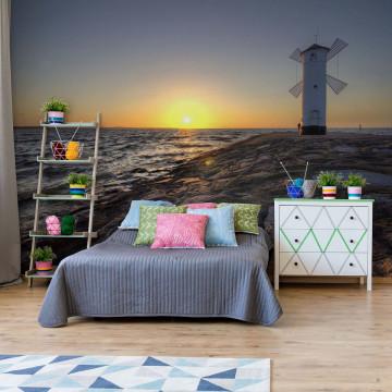 Coastal Windmill Photo Wallpaper Wall Mural