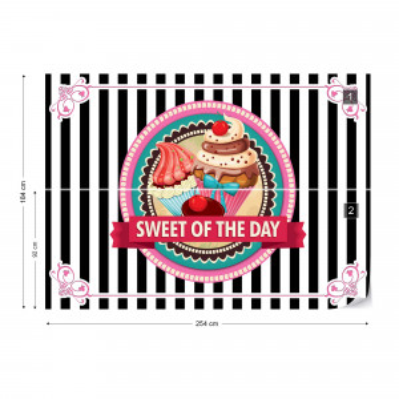Cupcakes Retro Photo Wallpaper Wall Mural