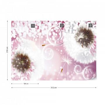 Dandelions Sparkles Pink Photo Wallpaper Wall Mural