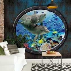 Dolphins Coral Reef Underwater Submarine Window View Photo Wallpaper Wall Mural