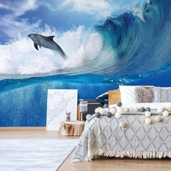 Dolphins Sea Wave Nature Photo Wallpaper Wall Mural
