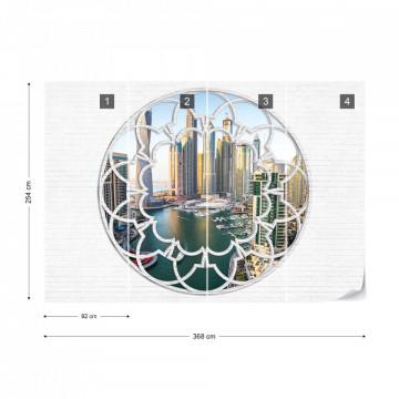 Dubai City Skyline Ornamental Window View Photo Wallpaper Wall Mural