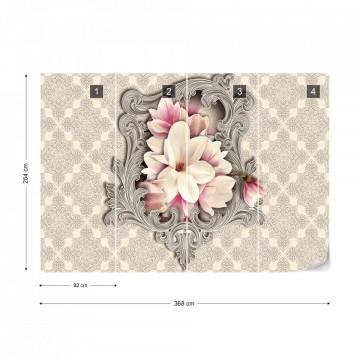Floral Design Ornamental Frame Photo Wallpaper Wall Mural
