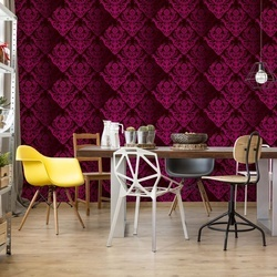 Floral Pattern Burgundy Photo Wallpaper Wall Mural