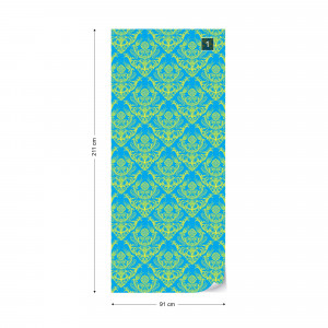 Floral Pattern Green And Blue Photo Wallpaper Wall Mural