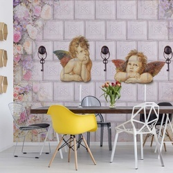 Flowers Cherubs Classical Design Photo Wallpaper Wall Mural