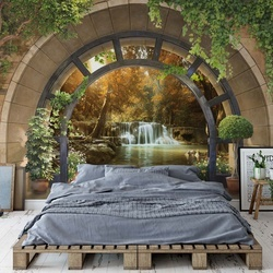 Forest Waterfall Archway View Photo Wallpaper Wall Mural