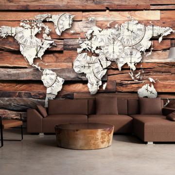 Fototapet autoadeziv - Map On Wood