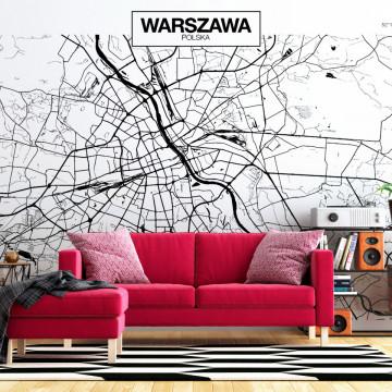 Fototapet autoadeziv - Warsaw Map