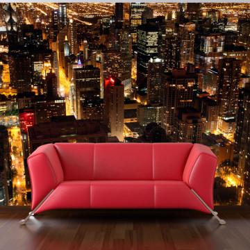 Fototapet - City by night - Chicago, USA