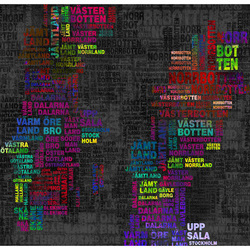 Fototapet - Colorful text map of Sweden