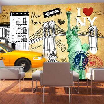 Fototapet - One way - New York