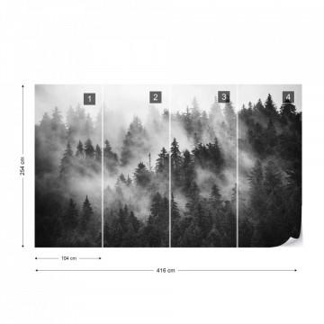 Fototapet - Pădure de Brazi în Ceață – Alb-Negru