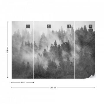 Fototapet - Pădure de Brazi în Ceață – Aspect Texturat, Alb-Negru
