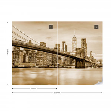 Fototapet - Podul Brooklyn NYC – Sepia