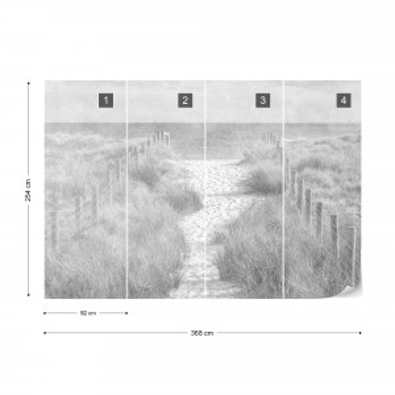 Fototapet - Potecă spre Mare – Efect Vintage Alb-Negru