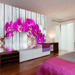 Fototapet - Violet orchids with water reflexion