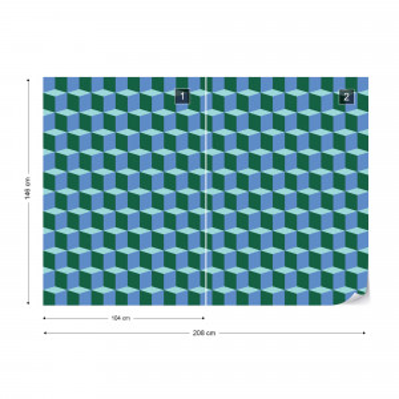 Geometric Design Blue And Green Photo Wallpaper Wall Mural