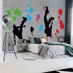 Graffiti Concrete Wall Dancers Photo Wallpaper Wall Mural