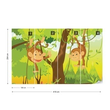 Jungle Monkeys Photo Wallpaper Wall Mural