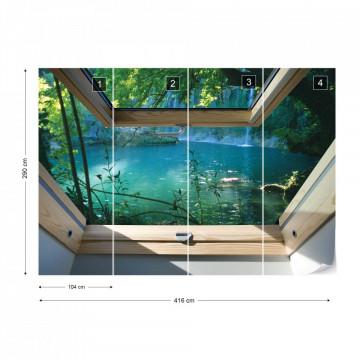 Lake 3D Skylight Window View Photo Wallpaper Wall Mural