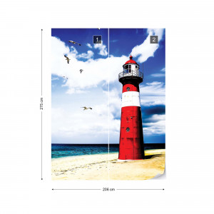 Lighthouse By The Beach Coastal Photo Wallpaper Wall Mural