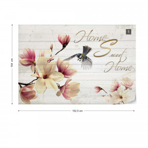 """Magnolia Flowers Wood Planks """"Home Sweet Home"""" Photo Wallpaper Wall Mural"""