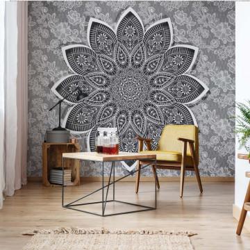 Mandala Grey And White Photo Wallpaper Wall Mural