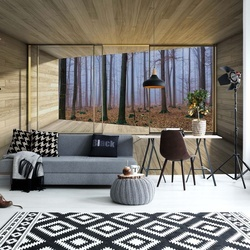 Misty Forest 3D Modern Window View Photo Wallpaper Wall Mural