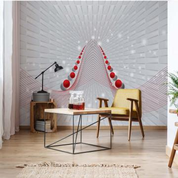 Modern 3D Abstract Design Red Photo Wallpaper Wall Mural
