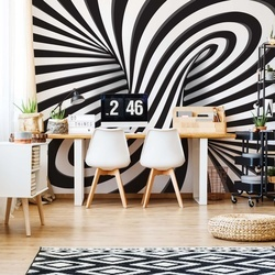 Modern 3D Optical Illusion Design Black And White Photo Wallpaper Wall Mural