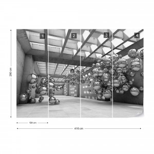 Modern 3D Silver Spheres Architecture View Photo Wallpaper Wall Mural