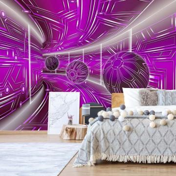 Modern 3D Tech Tunnel Purple Photo Wallpaper Wall Mural