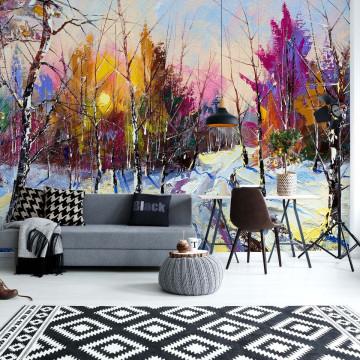 Modern Art Painting Winter Photo Wallpaper Wall Mural